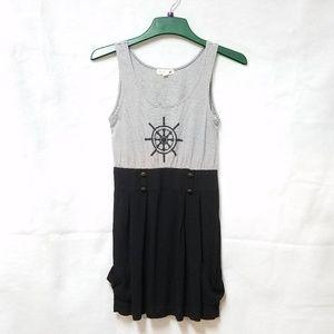 mine... Black White Nautical Sleeveless Dress S